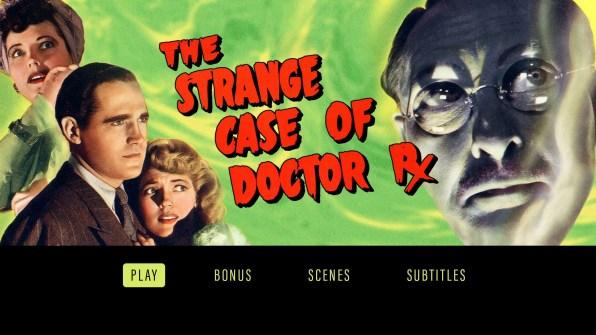 The Strange Case of Doctor Rx Blu-ray menu