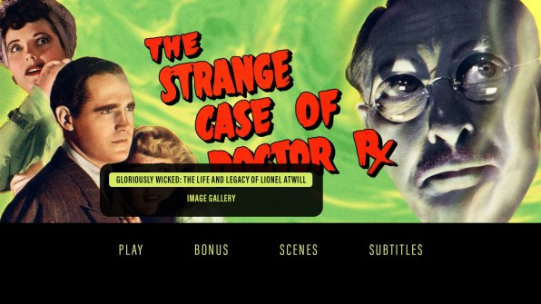 The Strange Case of Doctor Rx extras menu