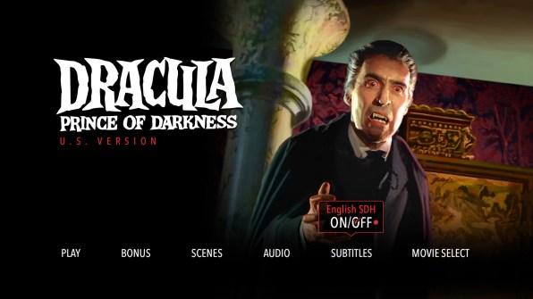 Dracula Prince of Darkness Subtitle Menu