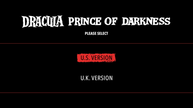 Dracula Prince of Darkness Version Menu