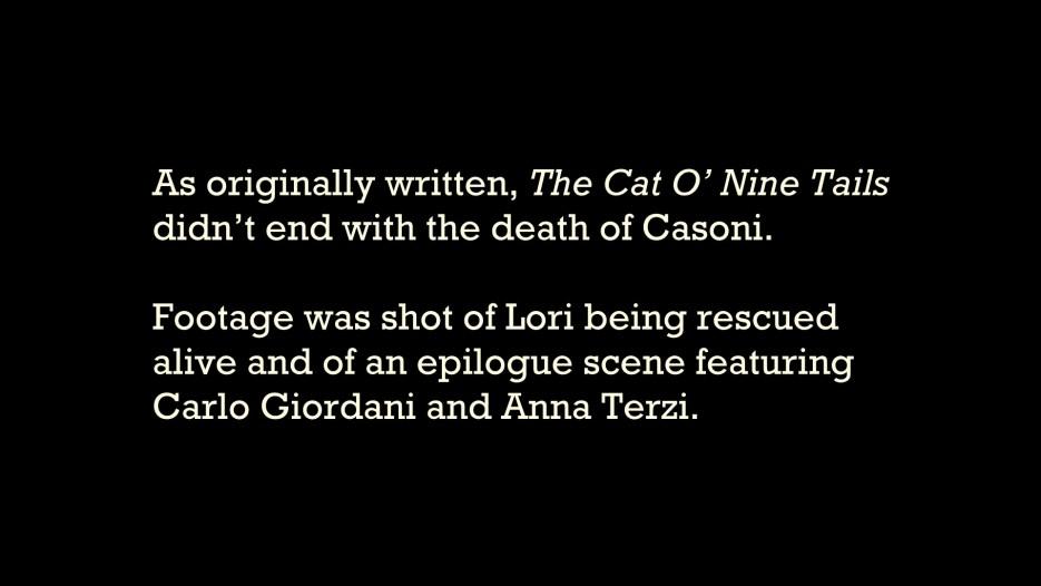 The Cat o' Nine Tails original ending script 1