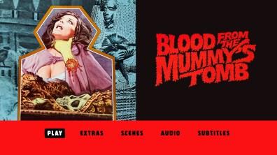 Blood from the Mummy's Tomb Blu-ray menu