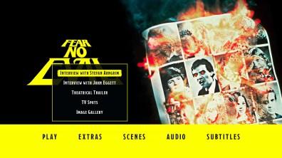 Fear No Evil Blu-ray Bonus Menu