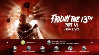 Friday the 13th Part VI: Jason Lives Blu-ray Extras Menu 1