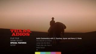 Texas, Adios Blu-ray Extras Menu 1