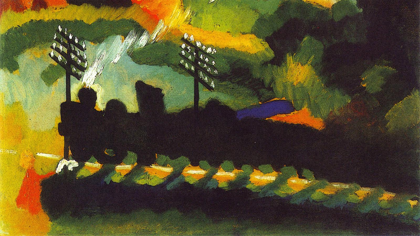 Murnau - vista con el ferrocarril y el castillo - Kandinsky (1909)