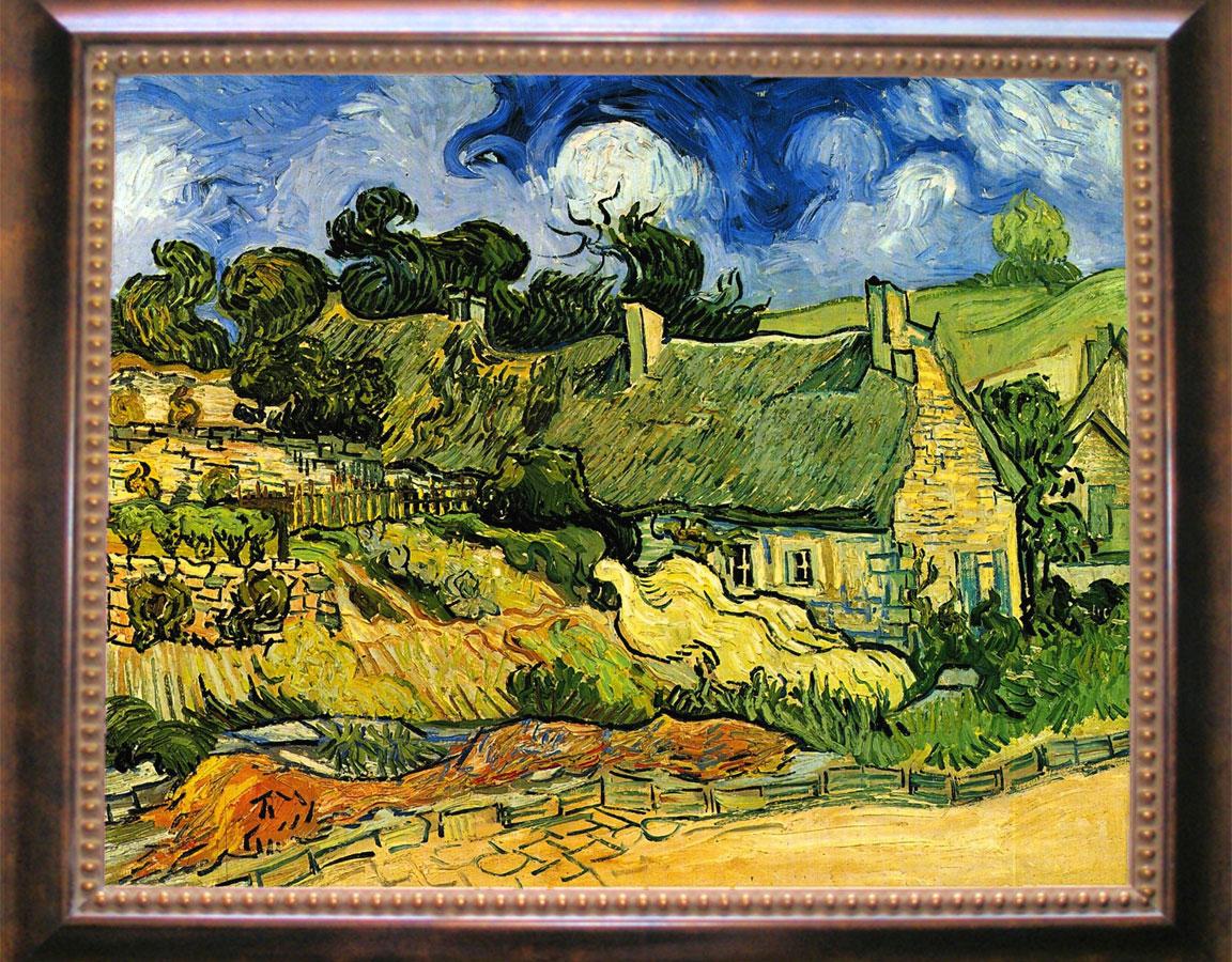 Casas de campo con techos de paja en Cordeville: famosa pintura de Vincent Van Gogh