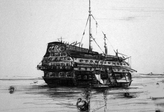 Dibujo de Adolfo Valderas sobre una de las nueve embarcaciones usadas como prisiones en la bahía de Cádiz, publicada en 'Recordando un olvido'.