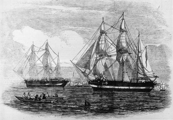 Ilustración del HMS Erebus y el HMS Terror para el London News publicada el 24 de mayo de 1845