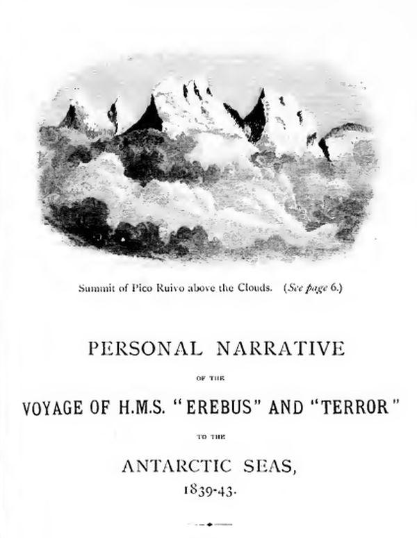 Frontis de la narración del viaje en el HMS Erebus y Terror de McCormick (1884)