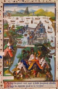 Miniatură franceză din secolul al XV-lea reprezentând asediul Constantinopolului