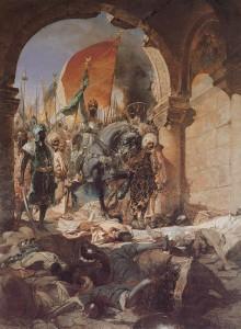Mahomed al II-lea şi armata otomană făcându-şi intrarea în Constantinopol