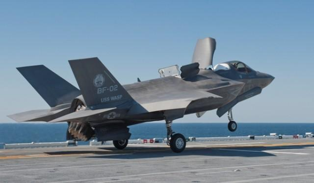 BF-02 performing STO's and VL's on USS Wasp LHD-1; Test Pilot was LtCol Matthew Kelly Flight #:122