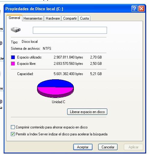 La particion de nuestro Windows ahora tiene el nuevo tamaño.