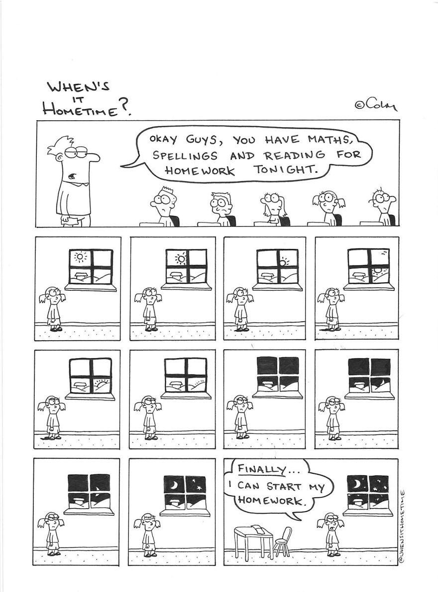 Whens it Hometime humor ilustracion clases 16