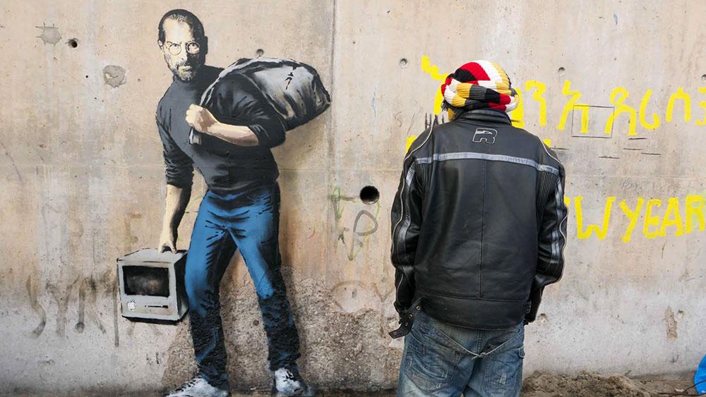 Banksy Syria  migrant steve jobs