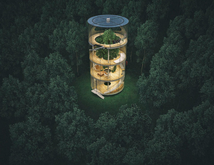 Aibek Almassov Tubular Glass House Built Around Tree