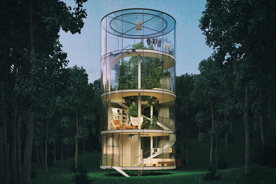 Aibek Almassov Tubular Glass House Built Around Tree 3