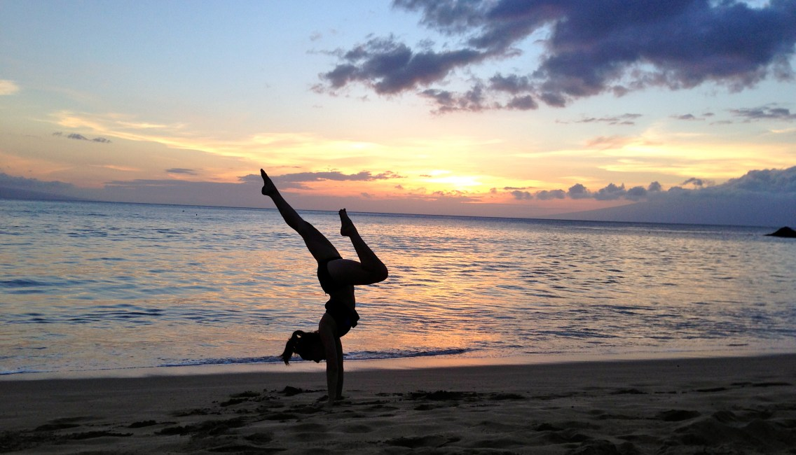 Handstand in the Sand in Lahaina, Maui