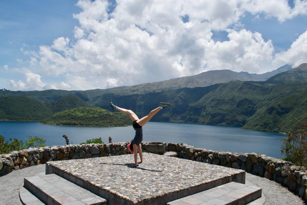 Handstand at Lago Cuicocha, Otavalo, Ecuador