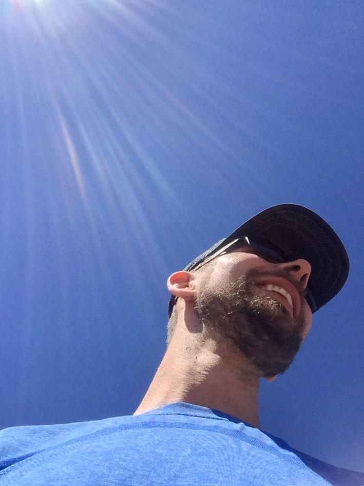 """I love this accidental picture Sasha took of himself. This is pretty much how I look up at him all the time since I'm a whole 13"""" shorter!"""