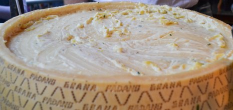 There's a giant cheese wheel in which they place hot pasta, swirl it around for a bit, and add your topping of choice. Yowza, Mamma Mia!