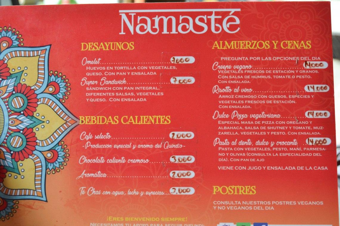 Namaste Cafe, Salento, Colombia - Menu
