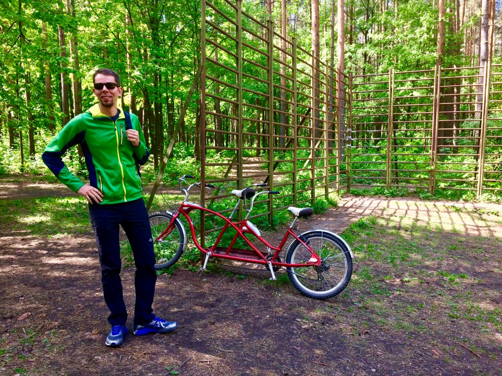 Tandem Bike in Sosnovka Park, Saint Petersburg, Russia