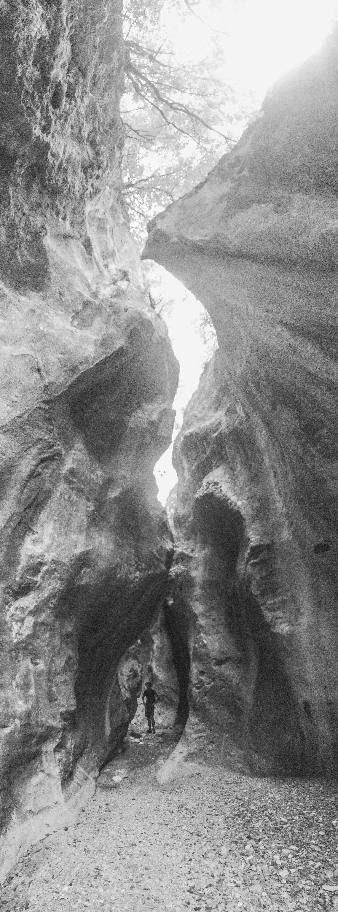Sarakina Canyon Hike black and white, Crete, Greece