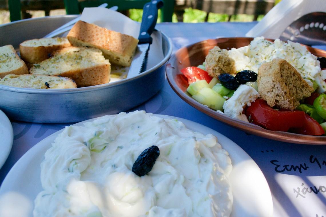 Greek Salad and Tzatziki - Crete, Greece