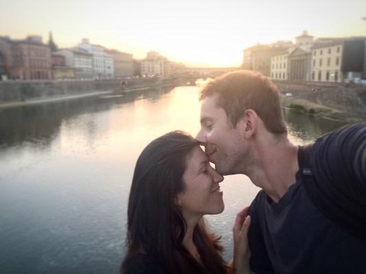 Kiss at the Ponte Veccio Bridge, Florence, Italy
