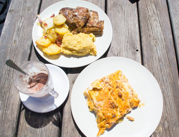 Lasagne, roasted pork, potatoes and polenta. Yum!