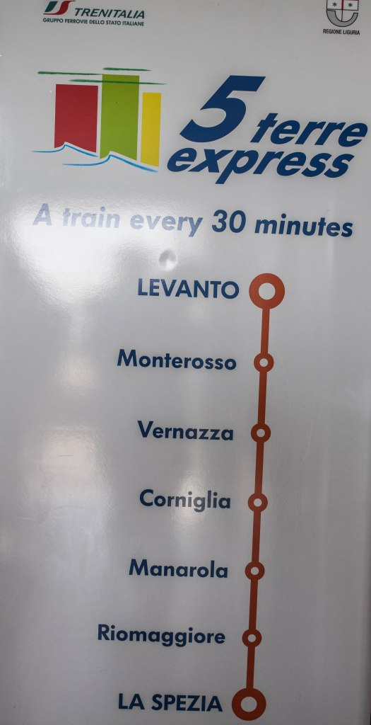 Train Map for Cinque Terre, Italy