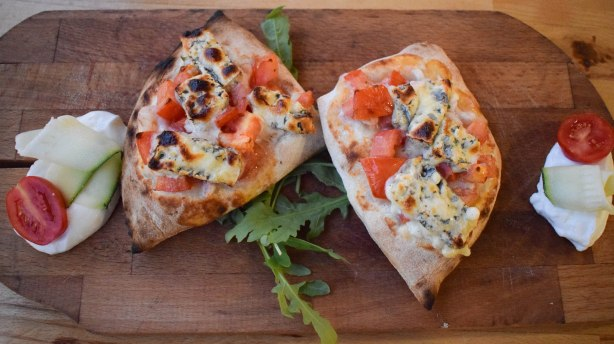 Split's version of bruschetta with shrimp, tomatoes, gorgonzola cheese and balsamic