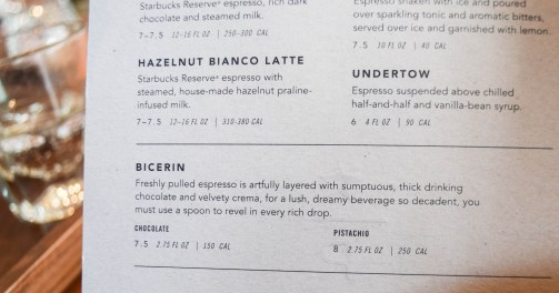 STARBUCKS RESERVE CARRIES BICERIN!!!!! If you have never been to Torino (Turin), Italy, this will mean nothing to you, but Bicerin is THE BEST chocolate Sasha and I have ever had in our entire world travels. It hails from the Fiat and chocolate capital of Italy. :)