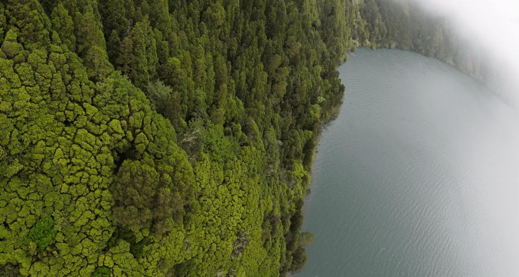 Drone Footage Over Lagoa Do Fogo
