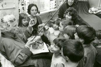 Margaret Flinsch during a storytelling session at Blue Rock School