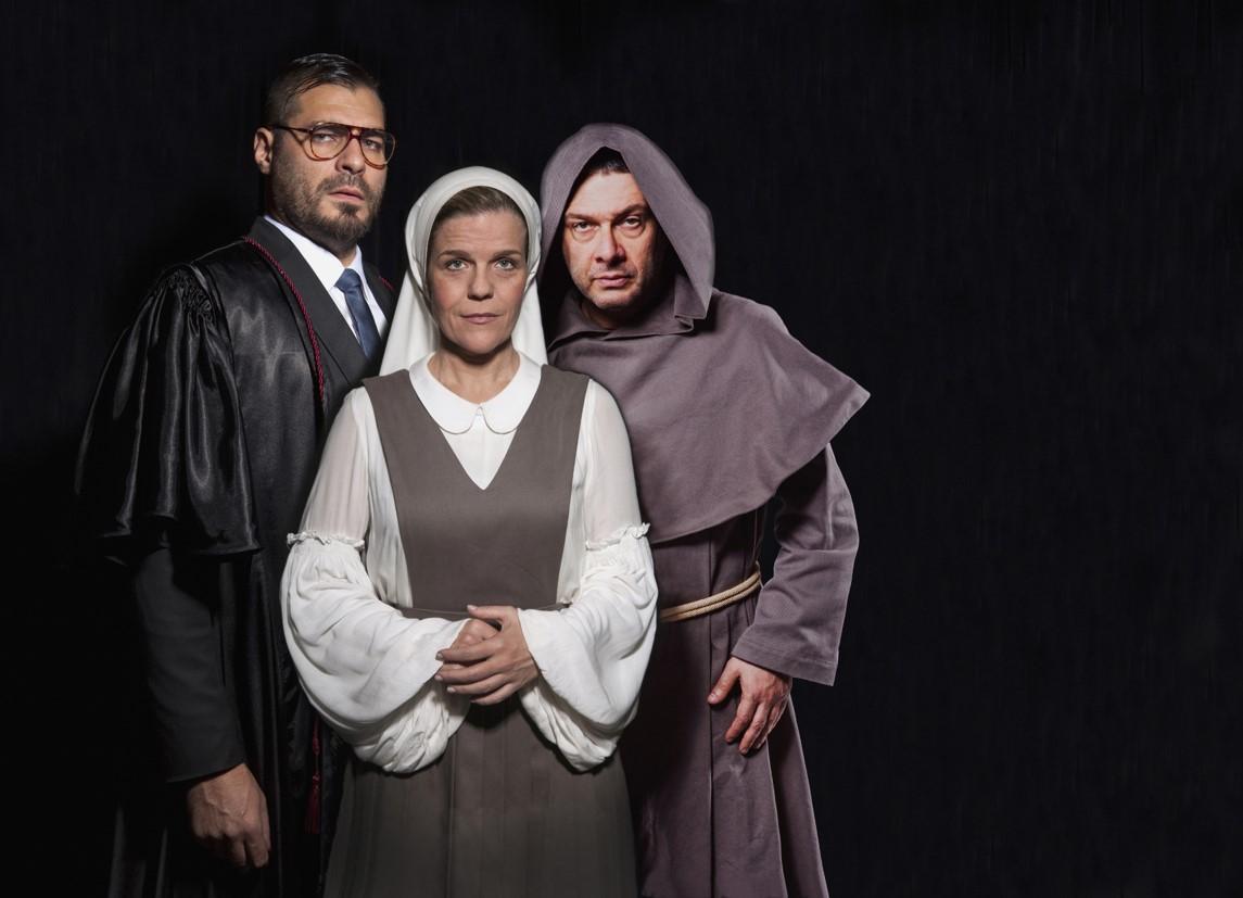 Thiago Lacerda, Luisa Thiré e Marco Antonio Pâmio em Medida por Medida. Foto: Divulgação.