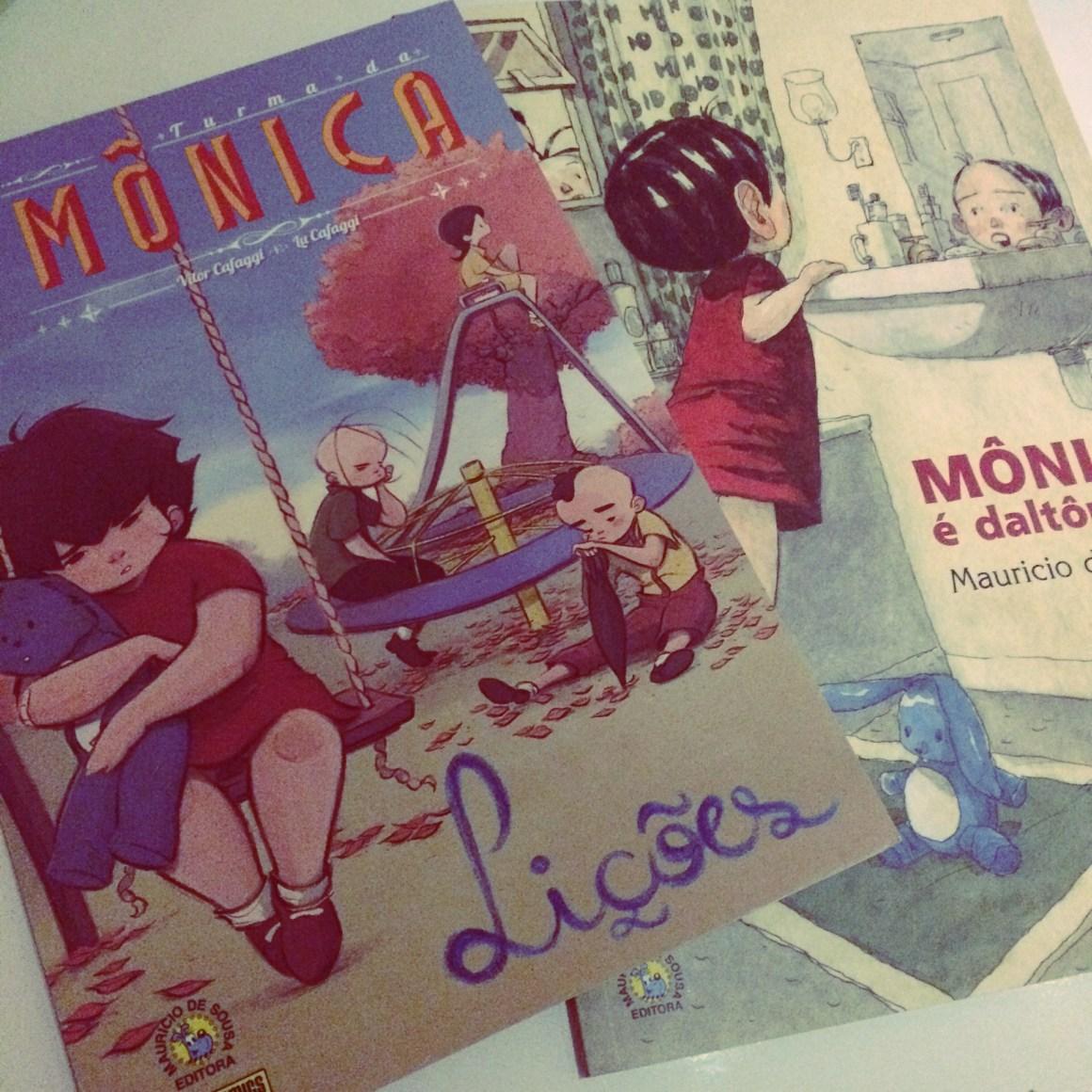 """Meu registo da Graphic MSP Turma da Mônica - Lições e da nova versão do clássico """"Mônica é daltônica?"""" em livro pela Companhia das Letrinhas."""
