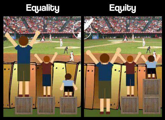 Two side-by-side images showing three people of different heights attempting to watch a sports event from behind a fence. The left image, captioned