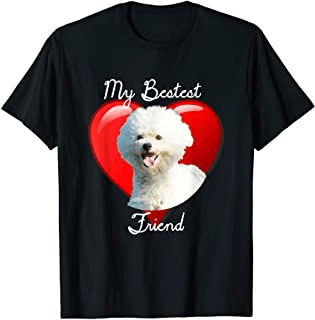 Bichon Frise t shirt design featuring a bichon frise dog in front of a heart with the phrase My Bestest Friend. Cute bichon frise t-shirt for bichon frise lovers, bichon frise mom or bichon frise dads. Great item for those looking for bichon frise gifts