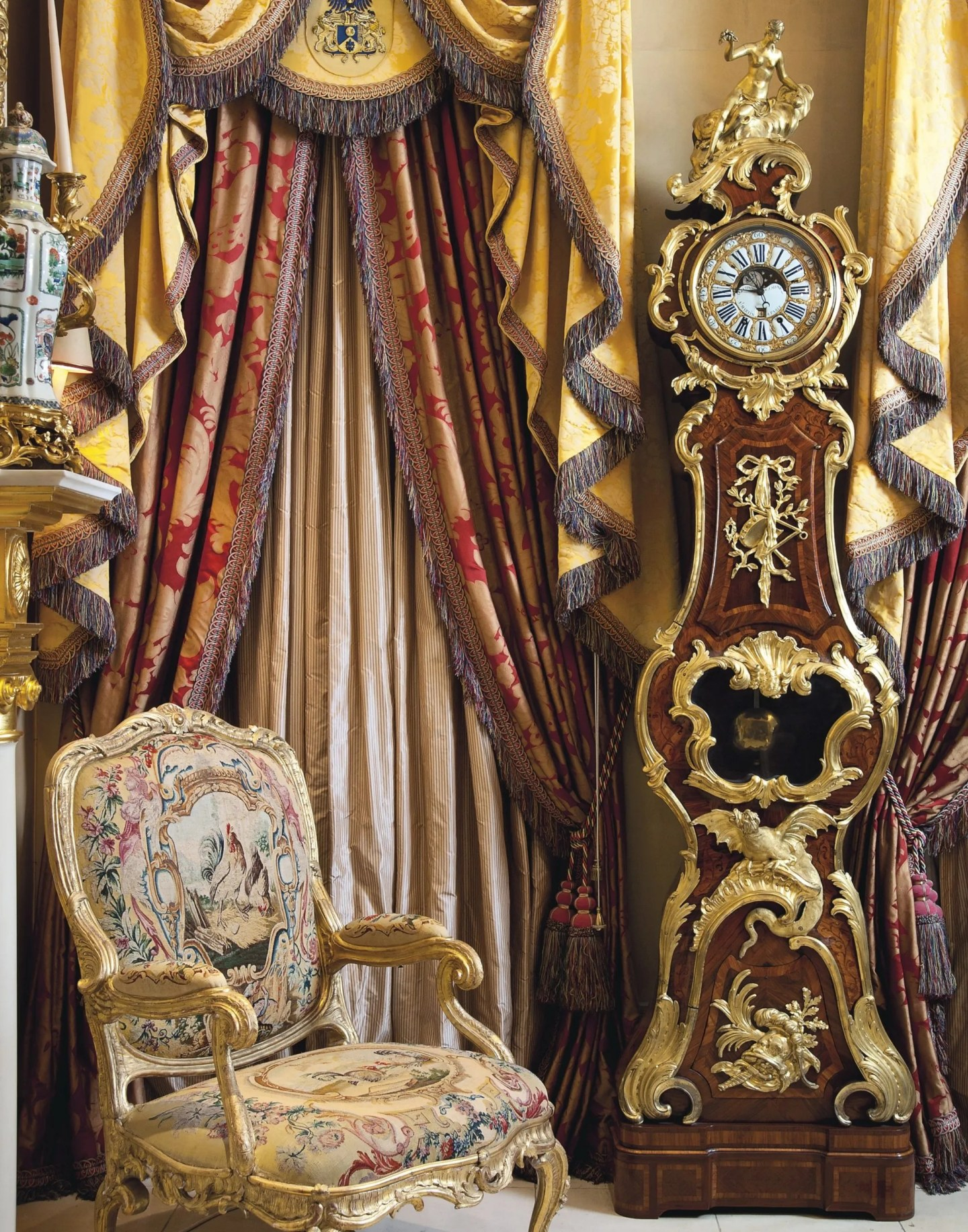 Hallway Dr Peter D Sommer ornate clock fabric swags