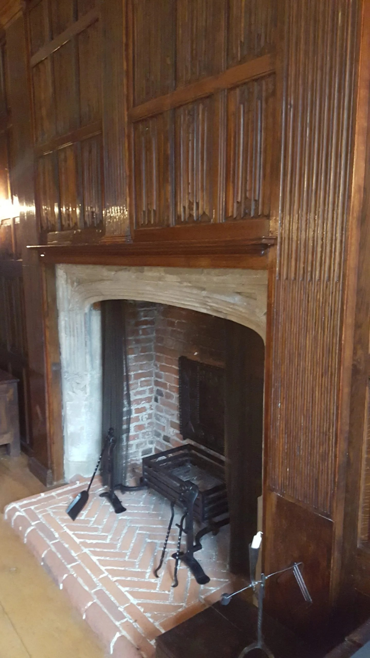 Linenfold panelling fireplace at Sutton House Hackney, London