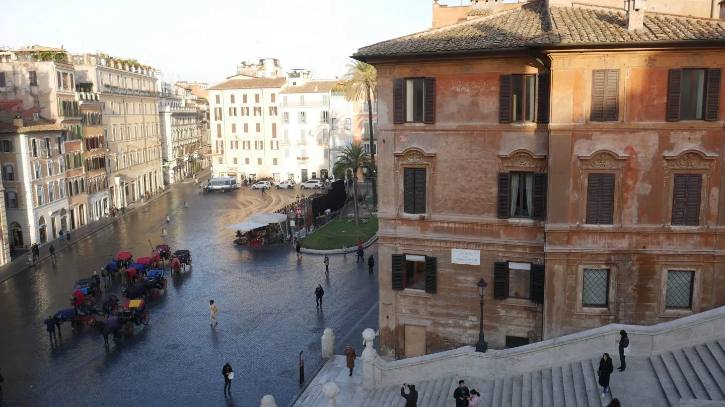 View from Landmark Rome of the Spanish Steps empty in the morning