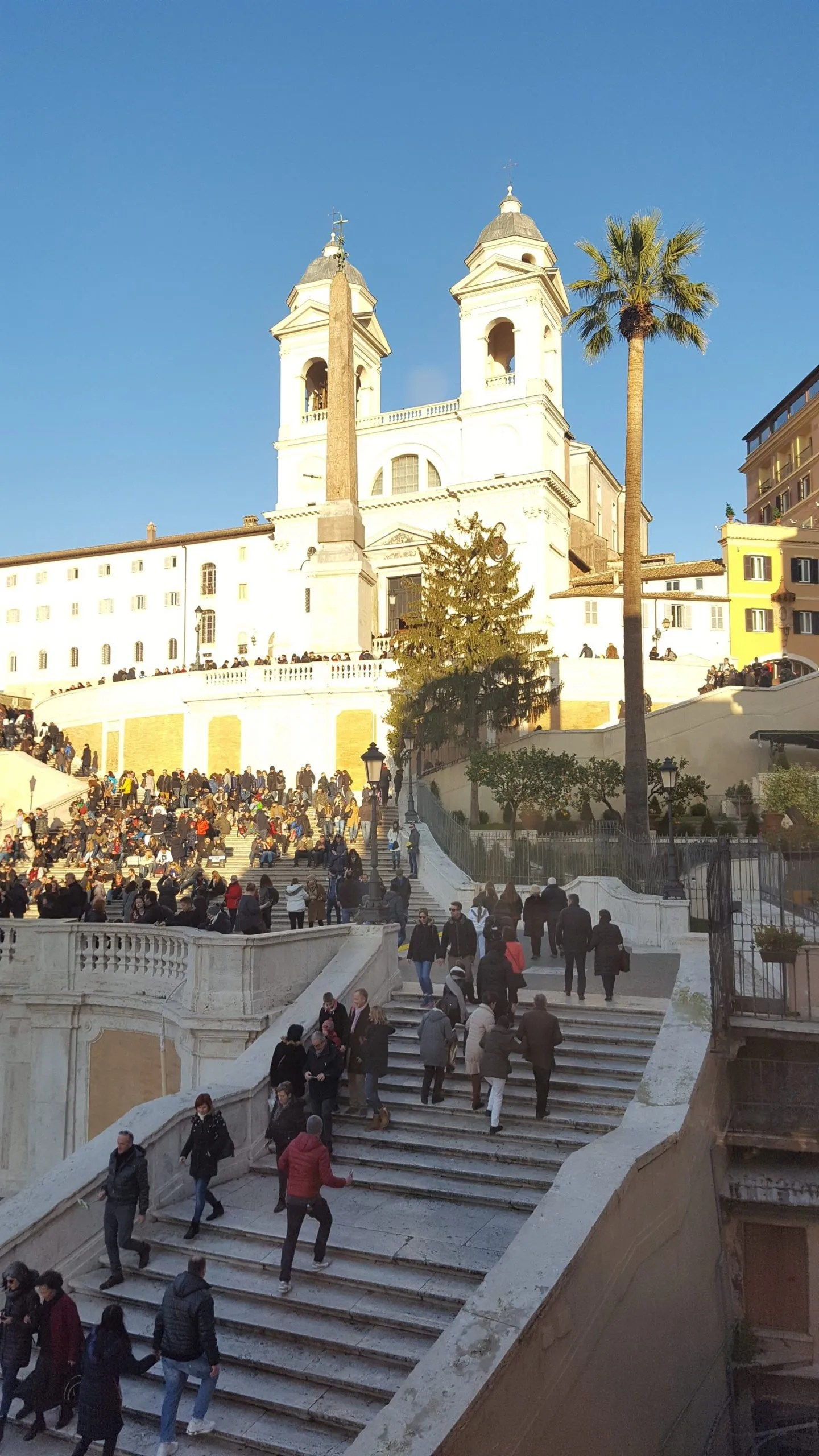 Sunshine on white church Trinità dei Monti Spanish Steps seen from Landmark Trust Rome