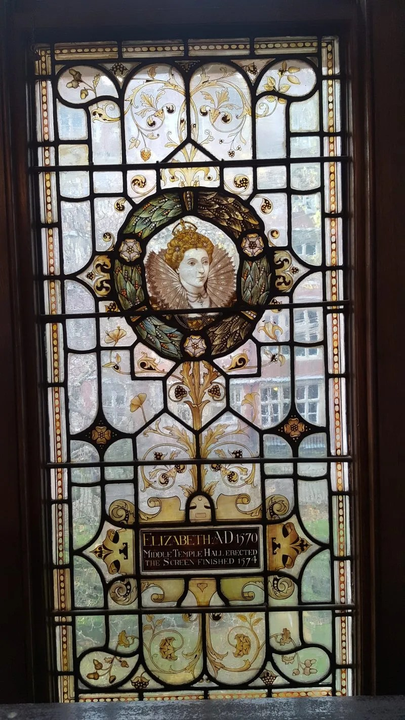 Queen Elizabeth I stained glass window Middle Temple