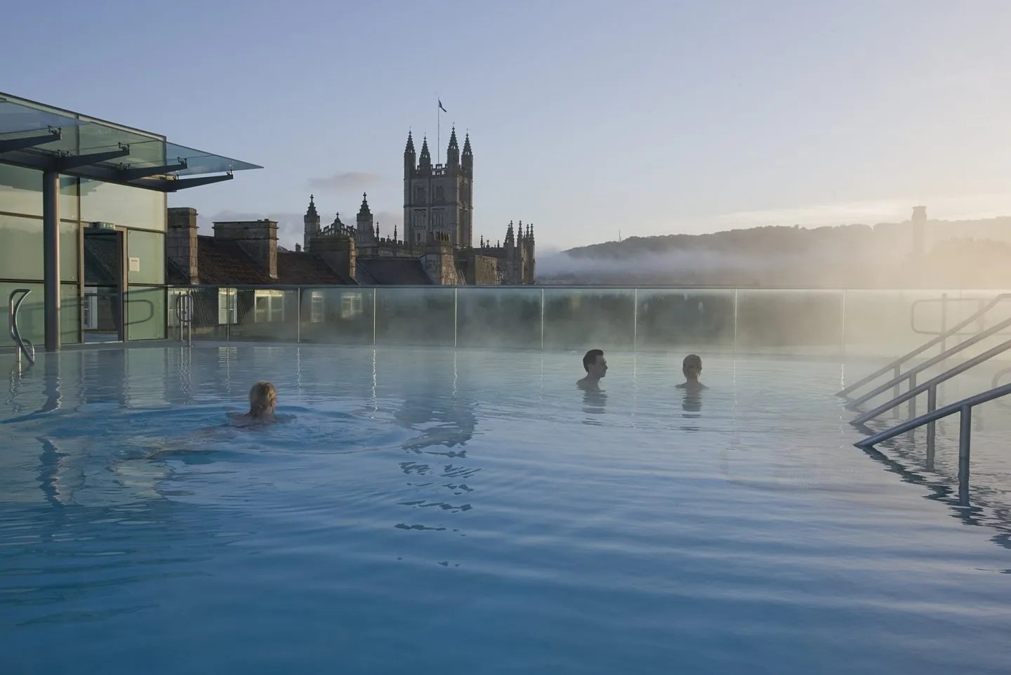 Early morning rooftop pool Bath Thermae Spa