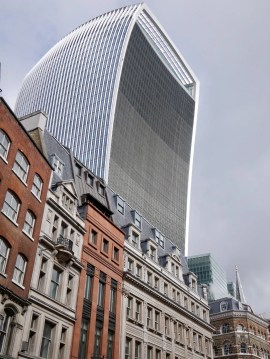 Walkie Talkie Building looms over Victorian buildings