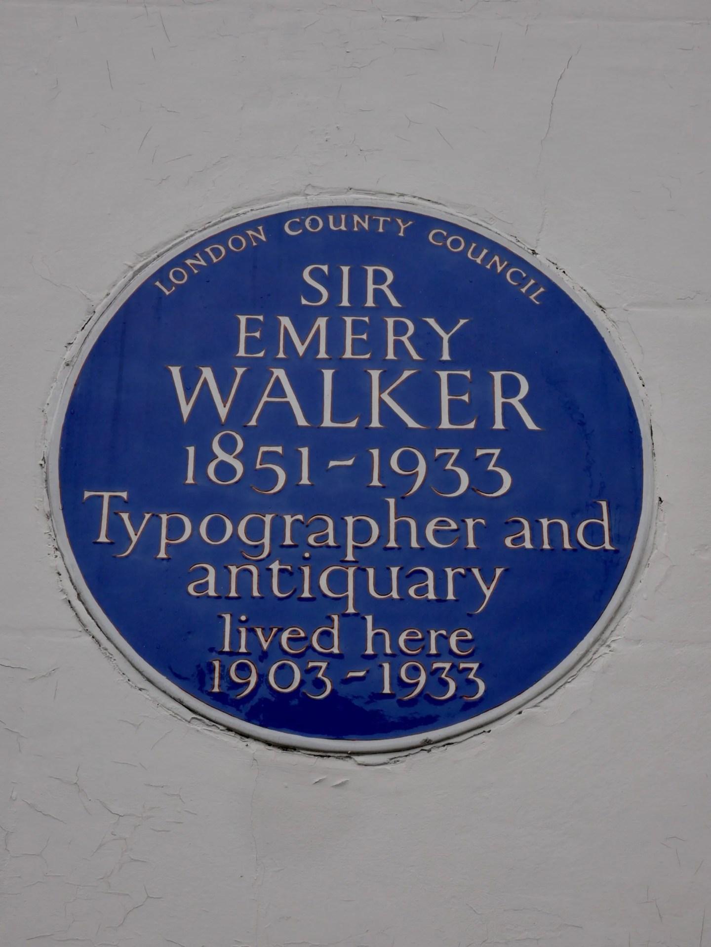 Emery Walker blue plaque