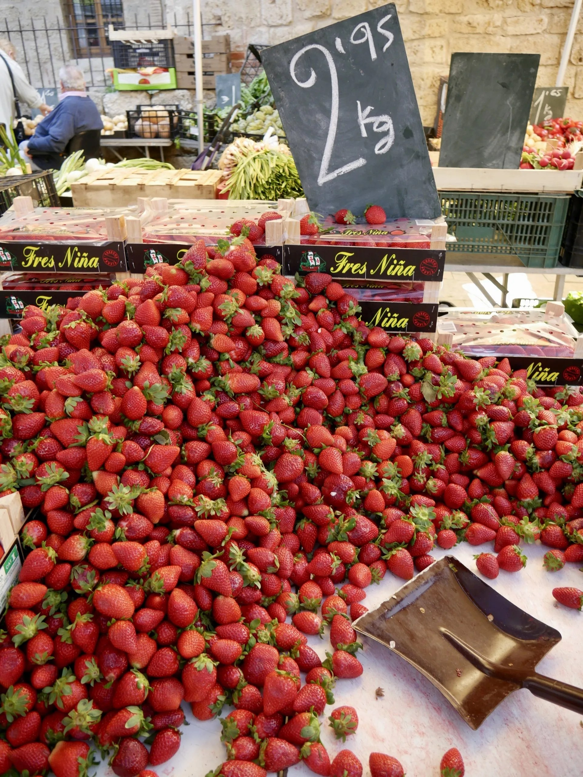 Strawberries market stall